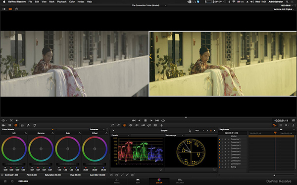 Colour grading in progress with the latest DaVinci Resolve 12